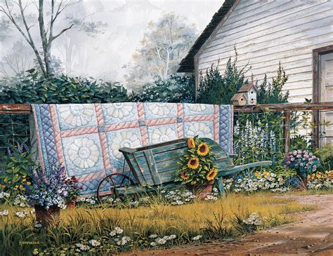Farm House Porches the old quilt painting by michael humphries