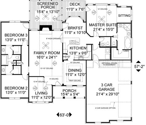 and bathroom house plans southern style house plan 3 beds 2 5 baths 1992 sq ft