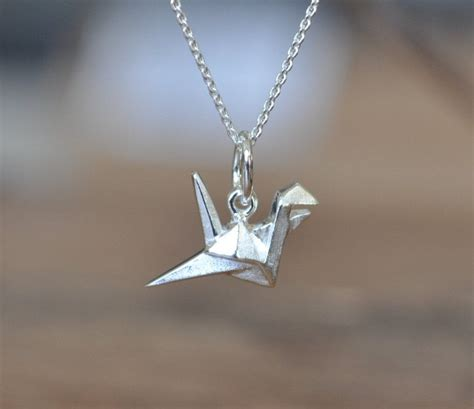 origami crane necklace sterling silver origami crane necklace silver crane necklace