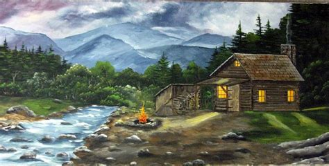 acrylic painting mountains acrylic painting canvas painting cabin log cabin