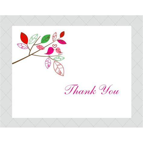 thank you card bird thank you cards style 399 whimsicalprints