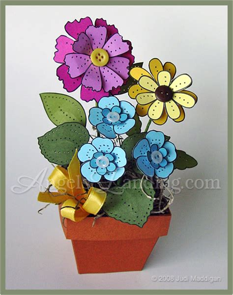 cardstock paper crafts 3d pierced flowers in flowerpot by crafts at