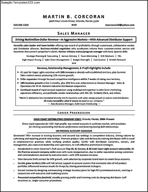 territory sales manager resume