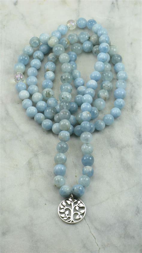 aquamarine mala winter mala necklace 108 aquamarine mala buddhist