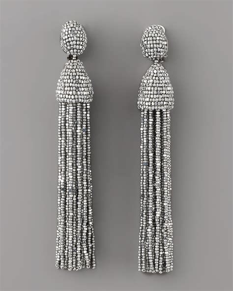 oscar de la renta beaded tassel earrings oscar de la renta beaded tassel earrings in metallic