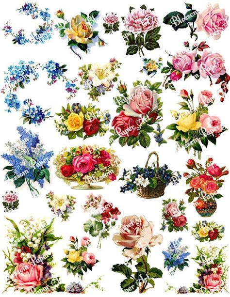 prints for decoupage vintage flowers digital collage sheet decoupage