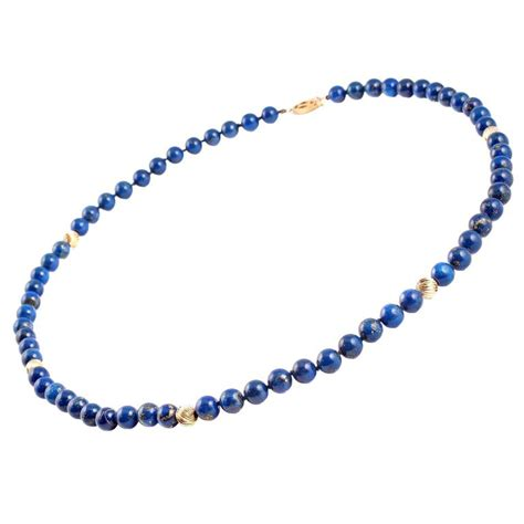 gold bead necklace lapis lazuli gold bead necklace at 1stdibs