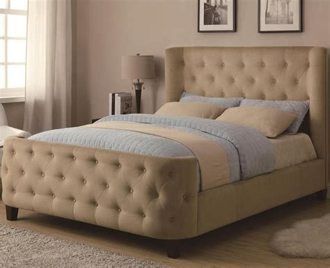bed upholstered headboard megan tufted bed