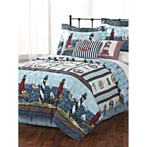 lighthouse sailboat nautical comforter set 3