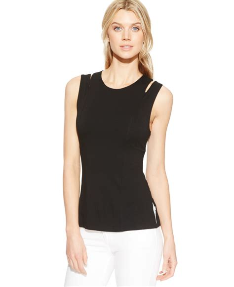 sleeveless knit top vince camuto sleeveless cutout knit top in black lyst