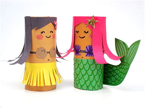 toliet paper roll crafts mollymoocrafts toilet roll crafts hula and mermaid