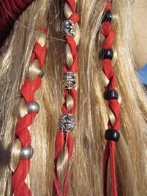 bead hair 2 leather hair wraps hair tie ponytail holders beaded bead