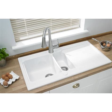 inset ceramic kitchen sinks ceramic large one and a half inset sink
