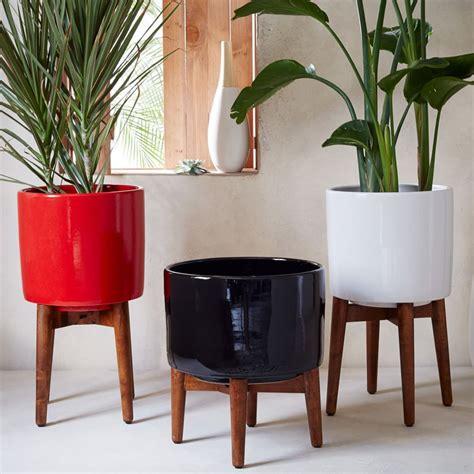 mid century planters mid century turned leg planter solid west elm uk
