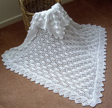 Beautiful Baby Shawl Blanket Knitted In A Lace