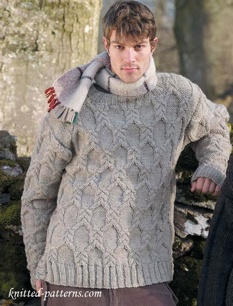 mens sweater knitting pattern s cable sweater knitting pattern
