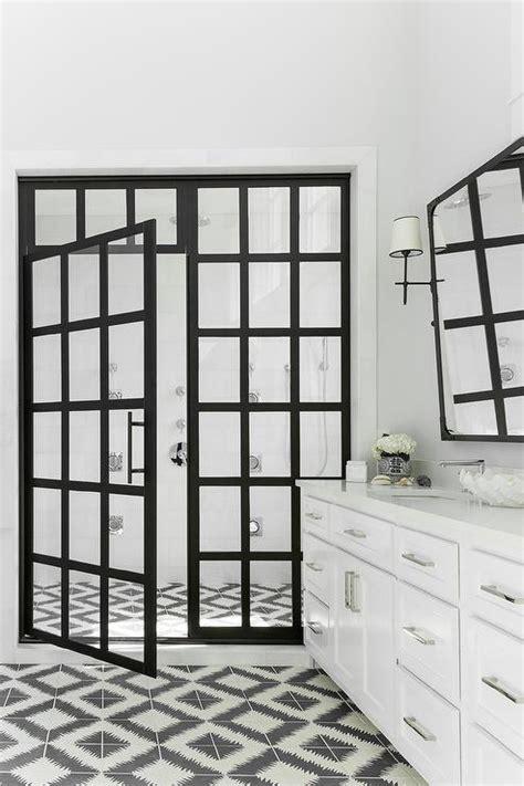 steel shower doors black and white bathroom with steel shower doors