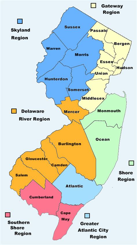 in new jersey map of new jersey nj county map new jersey state map