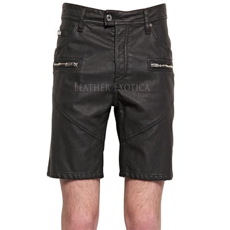 leather shorts mini length classic summer leather shorts