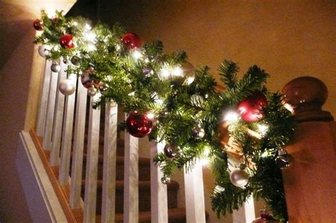 stairway garland stairway banister decorated for