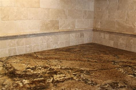 Brown Kitchen Cabinet Travertine Glass Backsplash Tile