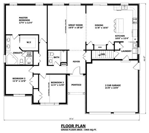 house plans with room 1905 sq ft the barrie house floor plan total kitchen area no formal dining room 11 8 x