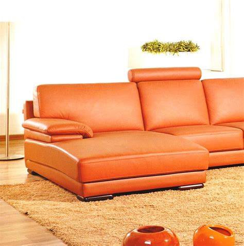 orange leather sectional sofa 2227 contemporary orange leather sectional sofa