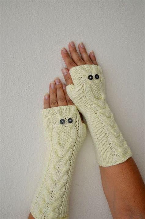 owl fingerless gloves knitting pattern owl beige gloves knit mittens fingerless by