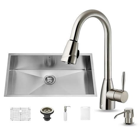 home depot kitchen sink faucet vigo all in one undermount stainless steel 32 in single bowl kitchen sink set with stainless
