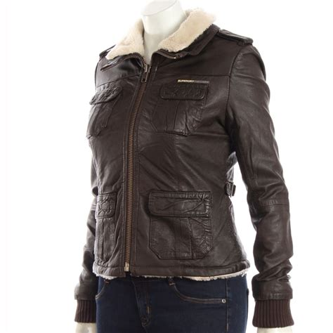 lined leather jacket superdry fleece lined leather jacket brown ebay