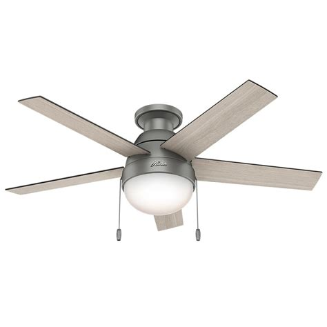 silver ceiling fan anslee 46 in indoor low profile matte silver
