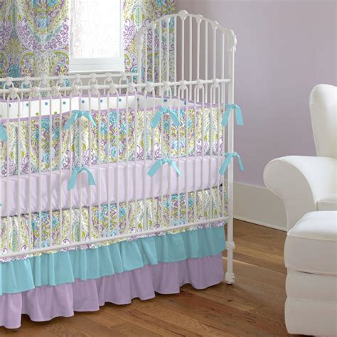 purple nursery bedding sets aqua and purple crib bedding carousel designs