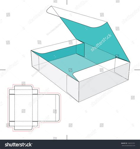 blueprint layout box with flip lid and blueprint layout stock vector