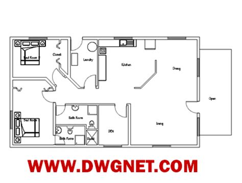 single story house plan single story small house plan 04 dwg net cad blocks