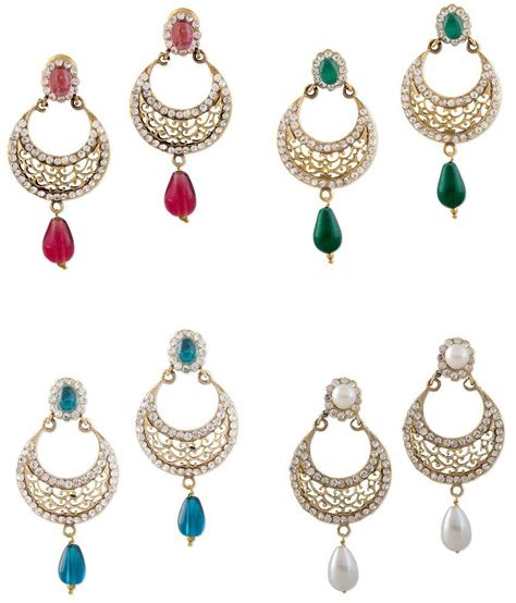 Bazarvilla 4 Pair Fashion Jewelry Traditional Earring Set