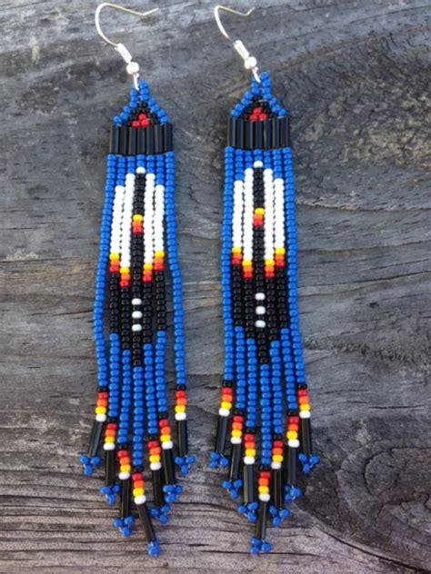 how to bead american style american style 3 3 4 quot blue beaded feather