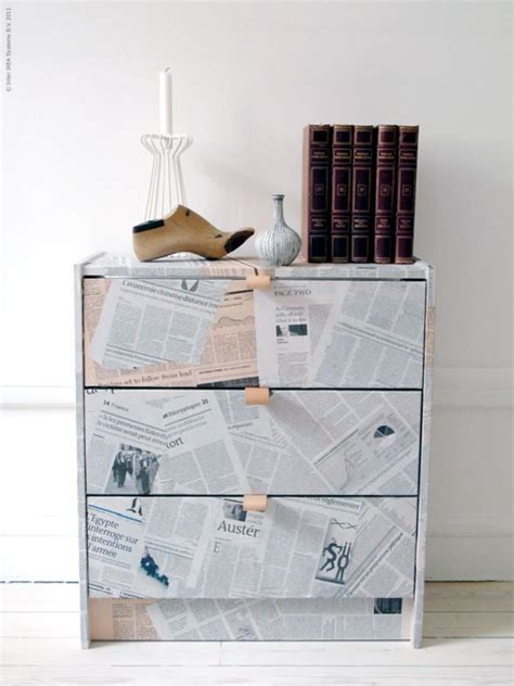 newspaper decoupage furniture 15 ikea rast chests get hacked in style