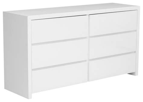 modern furniture dressers bonita modern white high gloss 6 drawer dresser modern