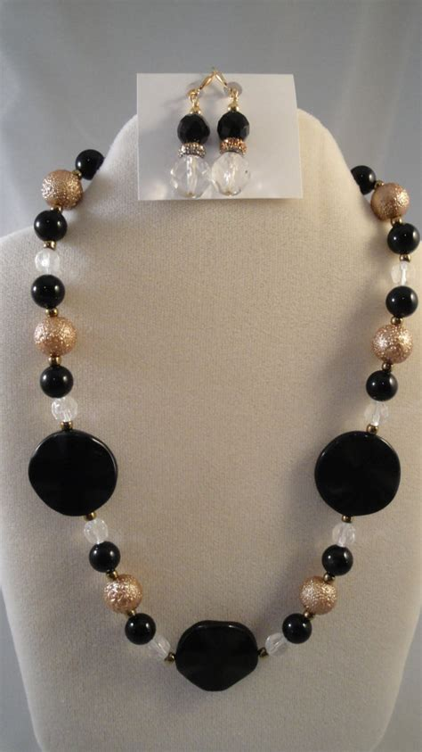 etsy beaded necklaces black onyx gold beaded necklace w earrings