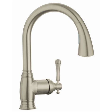 grohe bridgeford kitchen faucet shop grohe bridgeford brushed nickel pull kitchen