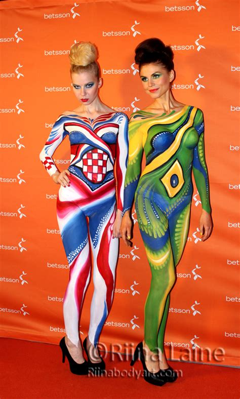 brazil paint tv show 2014 football world cup in bodypaint