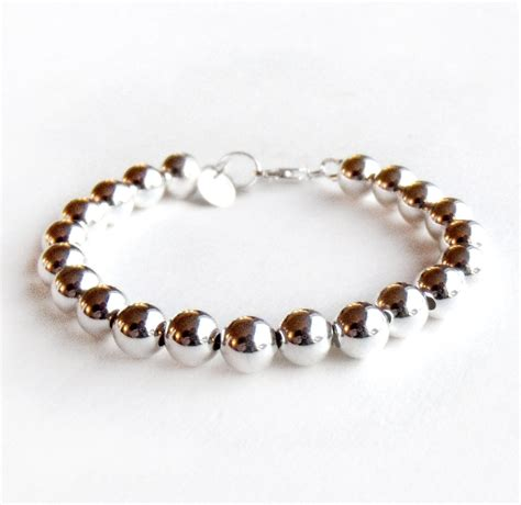sterling silver bead bracelet bracelet 8mm sterling silver bead bracelet everyday wear