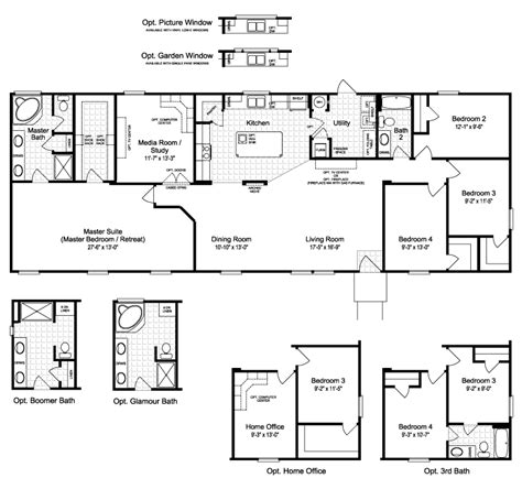 Kitchen Floor Plans With Walk In Pantry the harbor house iii 2077 sq ft manufactured home floor