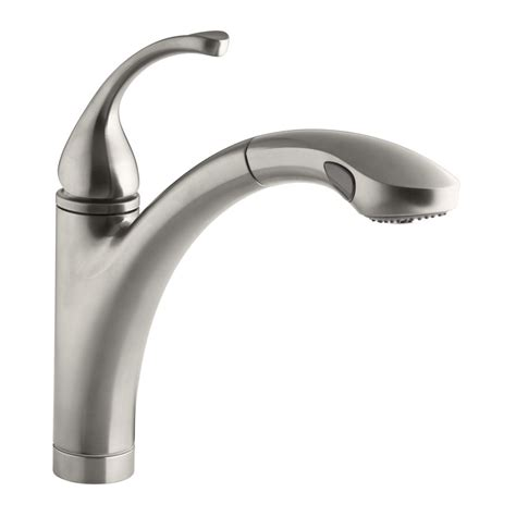 shop kohler forte vibrant stainless 1 handle pull out kitchen faucet at lowes