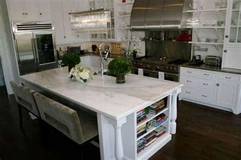 carrara marble kitchen island kitchen island bookshelf design ideas