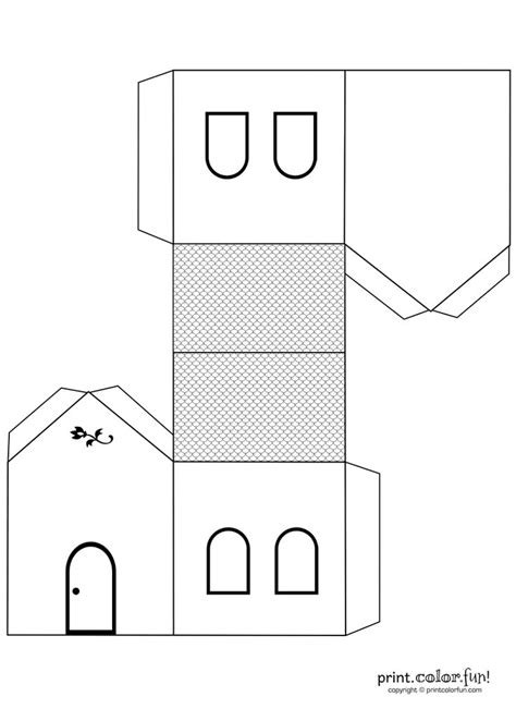 templates for children to make house cutout craft to color print color free