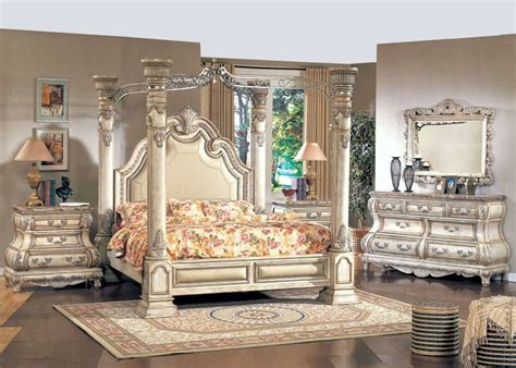 how to set a bed traditional king white leather poster canopy bed 4 pc