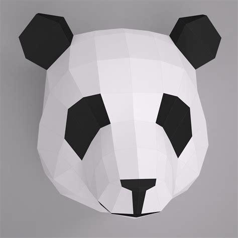 paper craft panda 3d model paper panda