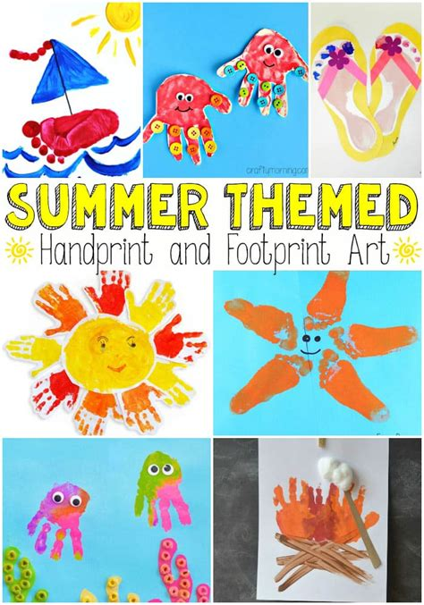 summer craft projects summer themed handprint and footprint easy peasy and