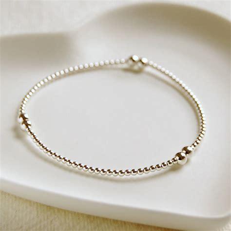 sterling silver bead bracelet delicate sterling silver bead bracelet by highland